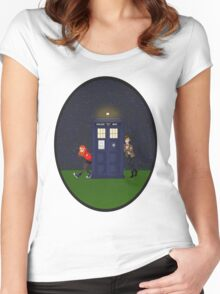 Amy Pond, the Doctor, and the TARDIS Women's Fitted Scoop T-Shirt