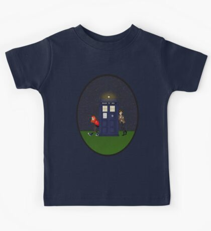 Amy Pond, the Doctor, and the TARDIS Kids Tee