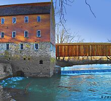 Burfordville Covered Bridge and Bollinger Mill by barnsis