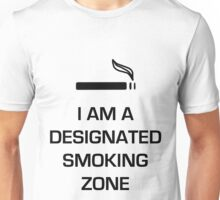 Designated Smoking Zone (Black Print) Unisex T-Shirt
