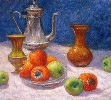 Still life with fruit by Julia Lesnichy