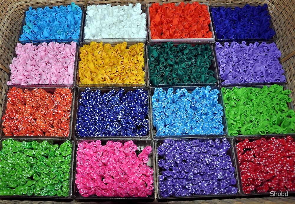 Silk rosettes by Shubd