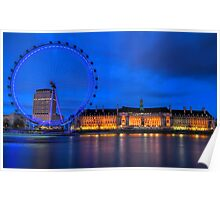 London Eye & Aquarium From Across The Thames Poster