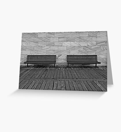 Waiting for tired feet-empty benches Greeting Card