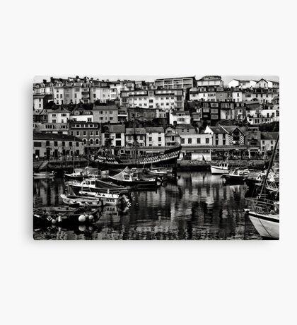 Brixham Harbour Mono Canvas Print