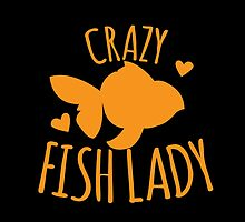 Crazy Fish lady with cute little goldfish by jazzydevil
