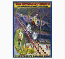 Vintage Circus Poster Print Kilpatricks Famous Ride Bicycle Kids Tee