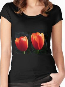 The sun broke through & the Tulips opened!  Women's Fitted Scoop T-Shirt