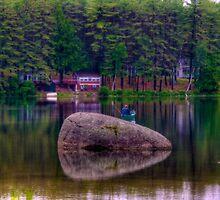 Fishing on Lake Whittemore by Monica M. Scanlan