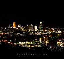 Cincinnati Skyline at Night by mtgroseth