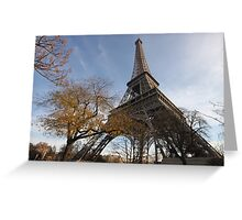 Looking up the Eiffel Tower Greeting Card