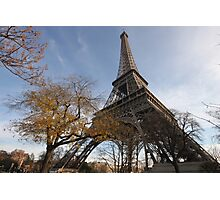 Looking up the Eiffel Tower Photographic Print