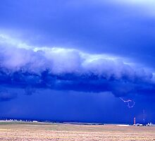 Storm front and lightning, Alberta by Lee Gunderson