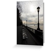 A Quiet, Peaceful Esplanade - New York City, Hudson River Greeting Card