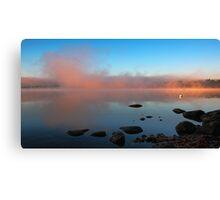 A Pink Mist Rising At Dawn - Crystal Lake Canvas Print