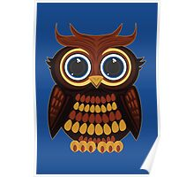 Friendly Owl - Blue Poster