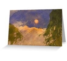 Sun rising through trees Greeting Card