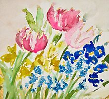Tulip, Daffodil, Pansy, and Grape Hyacinth Spring Bouquet by Natalie Cardon