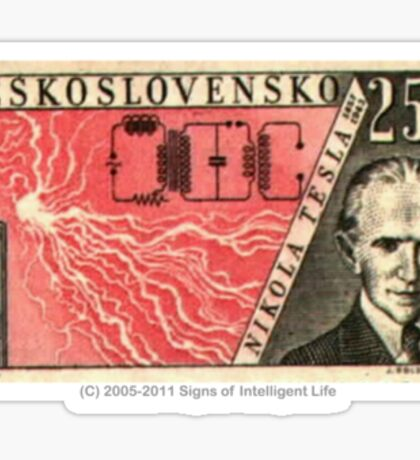 Tesla Stamp (Czechoslovakia) Sticker