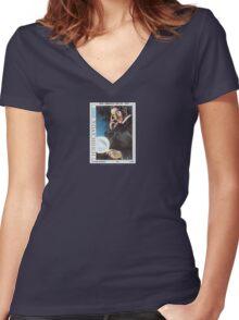 Tesla Stamp (Yugoslavia) Women's Fitted V-Neck T-Shirt