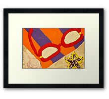 Beach Towel with Glasses, Seashell, and Starfish Framed Print