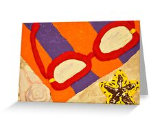 Beach Towel with Glasses, Seashell, and Starfish Greeting Card