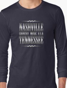Silver Nashville Tennessee Country Music Long Sleeve T-Shirt