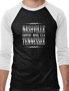 Silver Nashville Tennessee Country Music Men's Baseball ¾ T-Shirt
