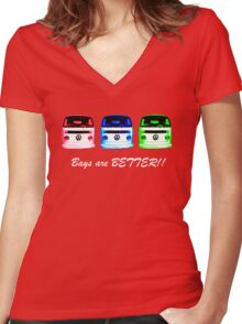 VW Kombi shirt - Bays are BETTER!!  Women's Fitted V-Neck T-Shirt