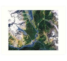 """Alaskan Spring"" - The snow is receding and the valleys are greening. Art Print"