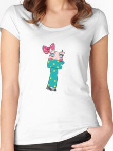 Cute Scarf Girl Women's Fitted Scoop T-Shirt
