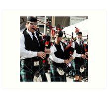 Irish men and their bagpipes Art Print