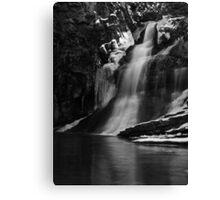 Ice Falls in Black & White Canvas Print