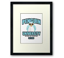 Penguin University - Blue Framed Print