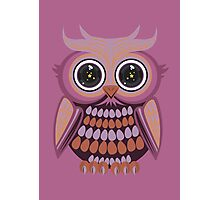 Star Eye Owl - Purple Orange 3 Photographic Print