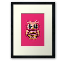 Star Eye Owl - Pink Orange 3 Framed Print
