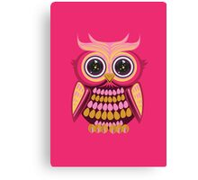 Star Eye Owl - Pink Orange 3 Canvas Print