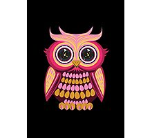 Star Eye Owl - Pink Orange 2 Photographic Print
