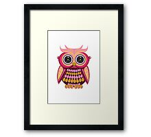 Star Eye Owl - Pink Orange Framed Print