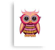 Star Eye Owl - Pink Orange Canvas Print