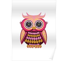 Star Eye Owl - Pink Orange Poster