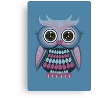 Star Eye Owl - Blue Purple 3 Canvas Print