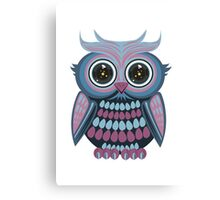Star Eye Owl - Blue Purple Canvas Print