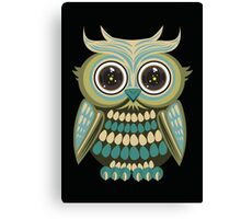 Star Eye Owl - Green 3 Canvas Print