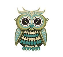 Star Eye Owl - Green 2 Photographic Print