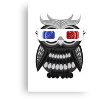 Owl - 3D Glasses - White Canvas Print