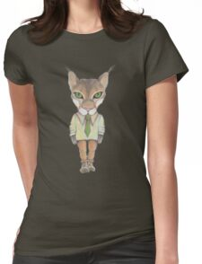 Funny lynx in a suit and tie. Hipster lynx. Lynx boss. Womens Fitted T-Shirt