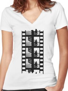 Old Movie Style Women's Fitted V-Neck T-Shirt