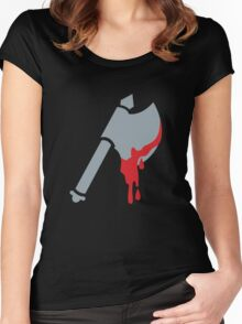 Medieval Viking Axe with dripping blood Women's Fitted Scoop T-Shirt