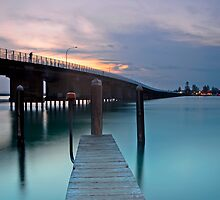 Of Bridge, Poles, Pier and Person by bazcelt